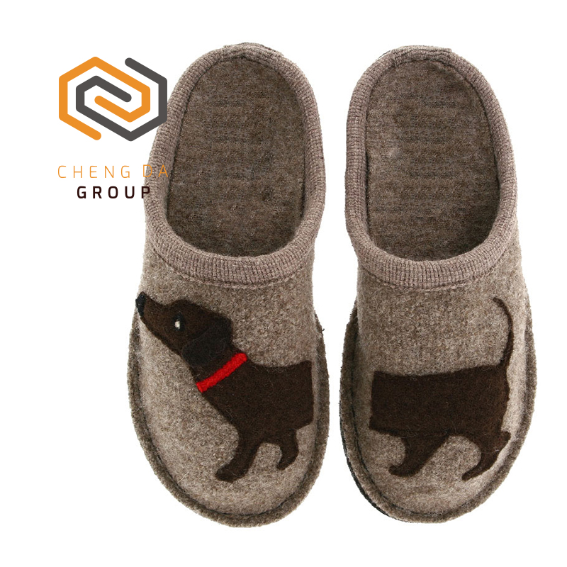 Custom made high quality women winter animal wool slippers warm indoor shoes