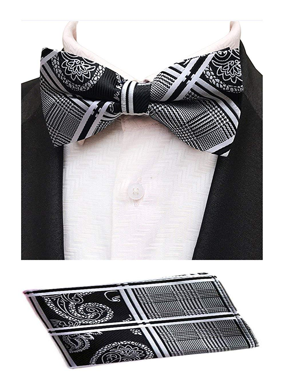 018d68957b045 Get Quotations · MOHSLEE Men's Silver Striped Paisley Bowtie Wedding Bow Tie  & Pocket Square Set