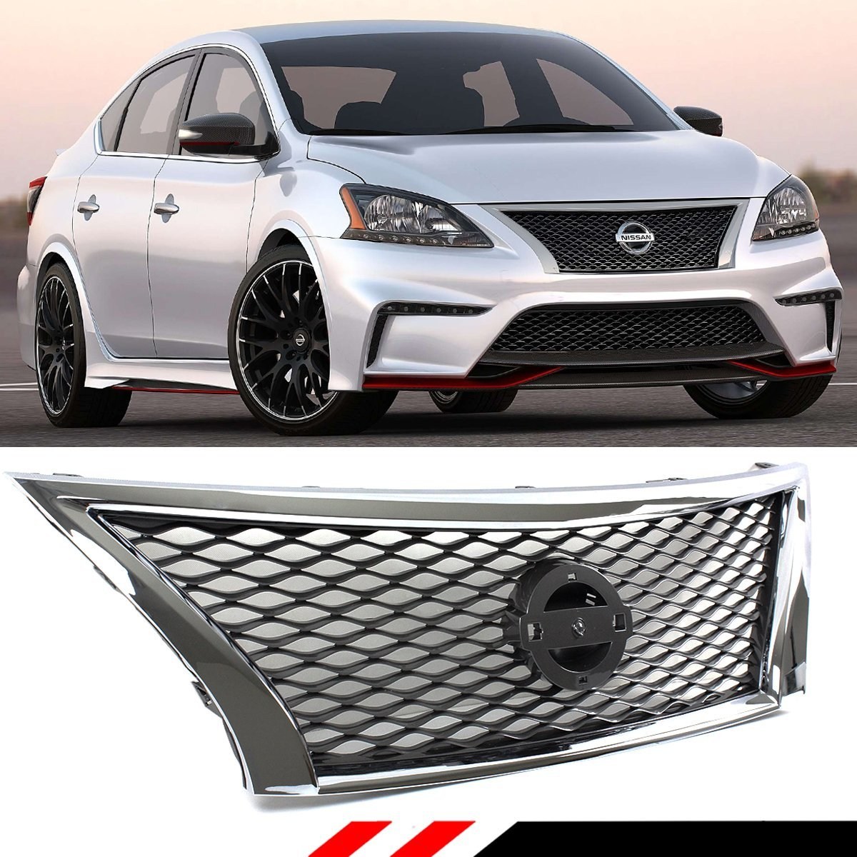 Get Quotations For 2017 Nissan Sentra B17 Front Upper Gunmetal Jdm Mesh Grill W Chrome
