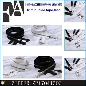 black and white double -ended light gold and white gold silver metal zipper