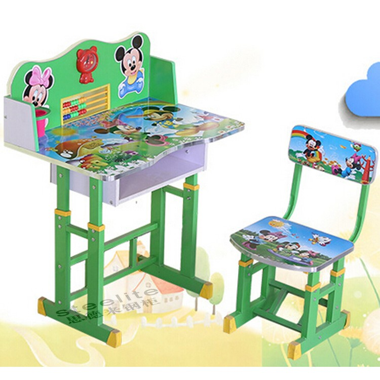 Small cartoon drawing painted kids study table kids table for Small chair for kid