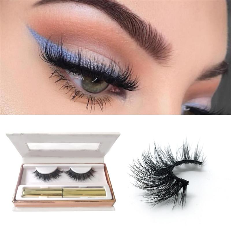 Factory price 3D mink lashes private label eyeliner false eye lash magnetic eyelashes, Natural black