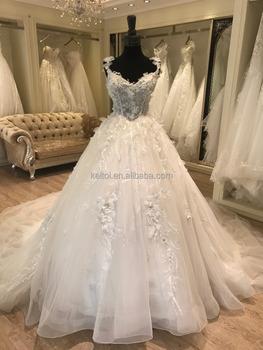 Guangzhou Wedding Dress Factory 2017 Long Tail Ball Gown
