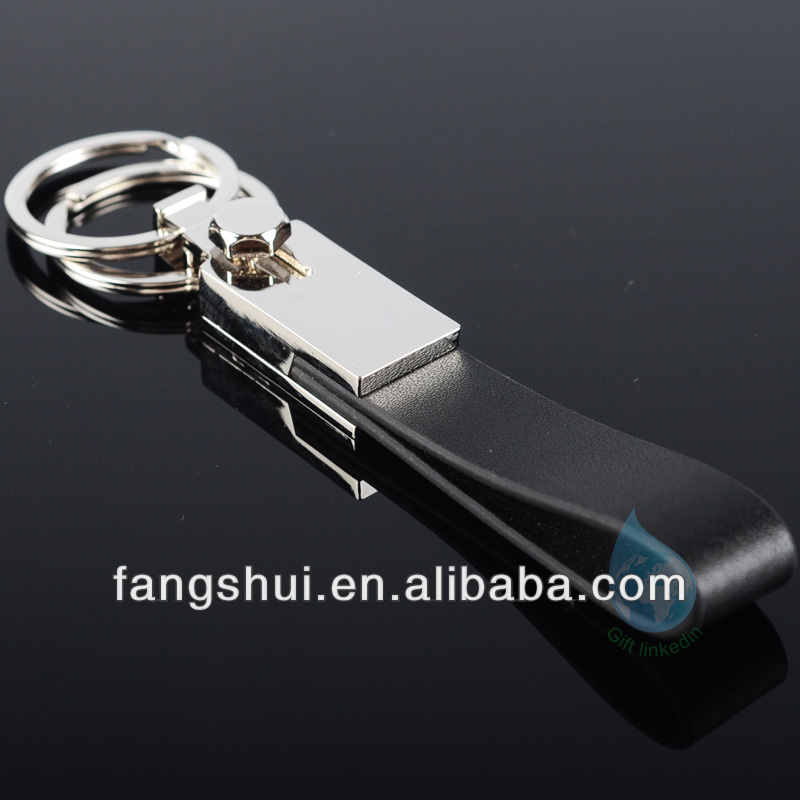 Rectangular PU leather & metal car logo keychains/2012 fashion leather keychains china supplier