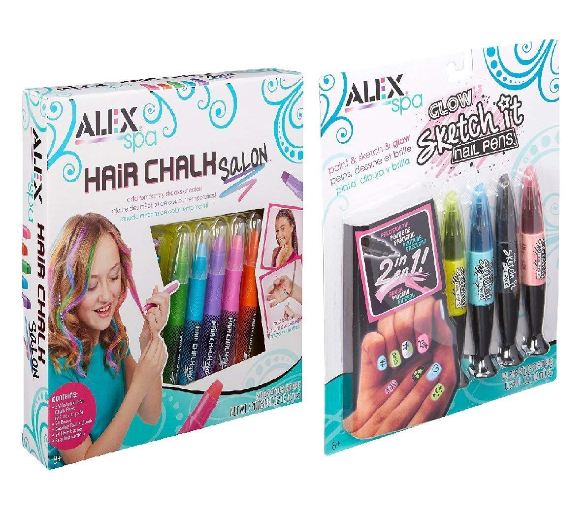 ALEX Spa Glow Sketch It Nail Pens Hair Chalk Salon, 2 FOR ONE