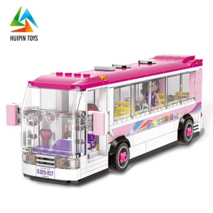 diy city model XB-12005 intellect girls toy sets building blocks bus