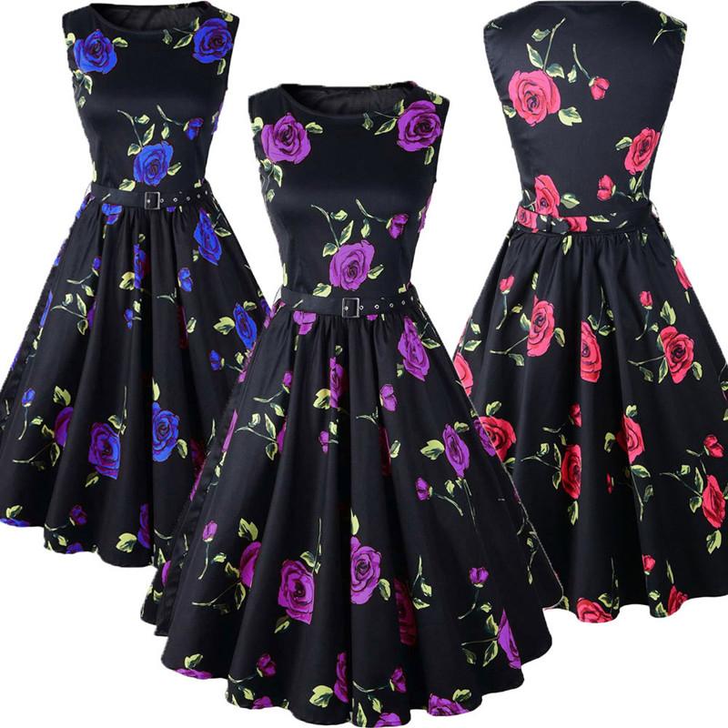 Walson Lady Soft Textile Fashion Black O Neck Frocks Printing