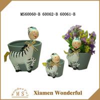 Set 3 Zebra Shaking head Ceramic Flower Pot