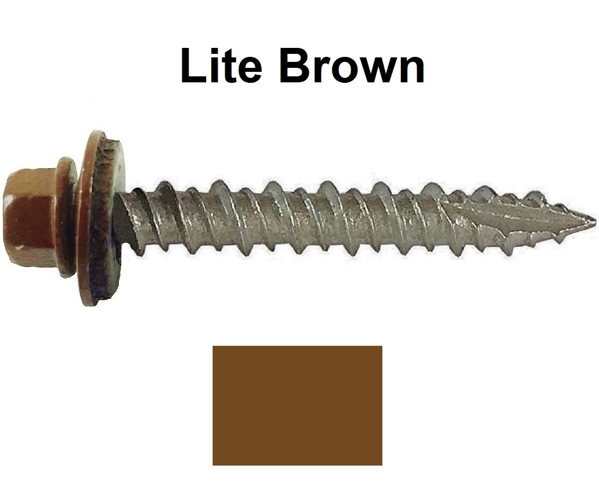 "Metal ROOFING SCREWS: (250) 10 x 1-1/2"" Light Brown Hex Head Sheet Metal Roof Screw. Self starting metal to wood siding screws. EPDM washer. Colored head"