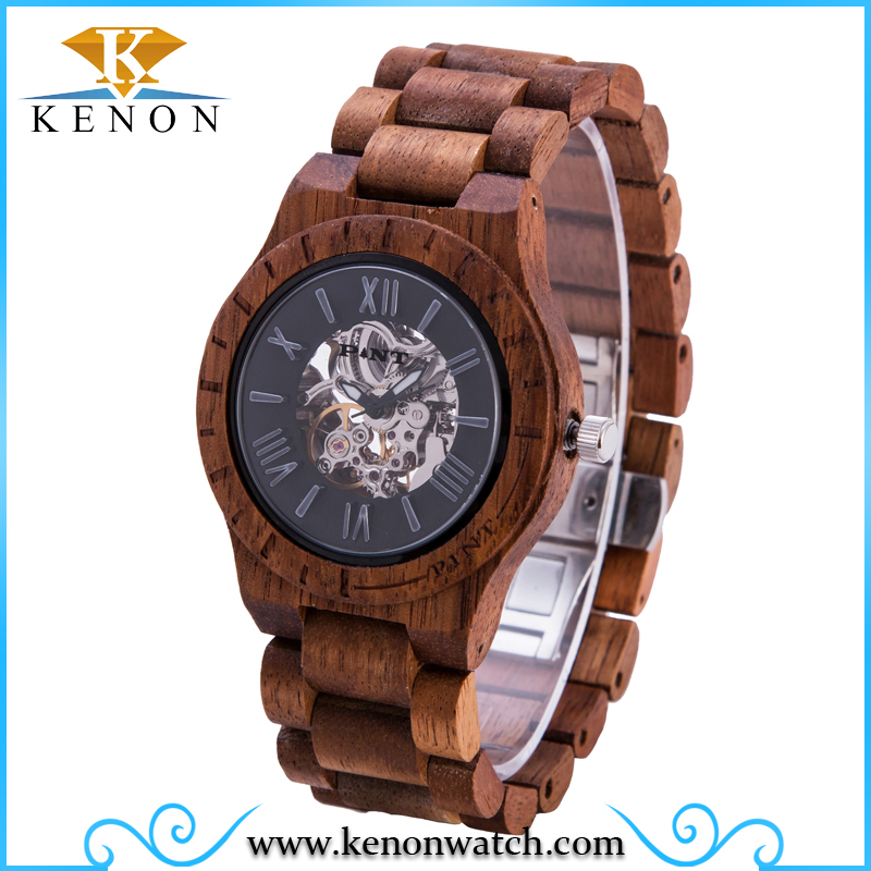 2016 Automatic visible mechanism wood watches with your logo