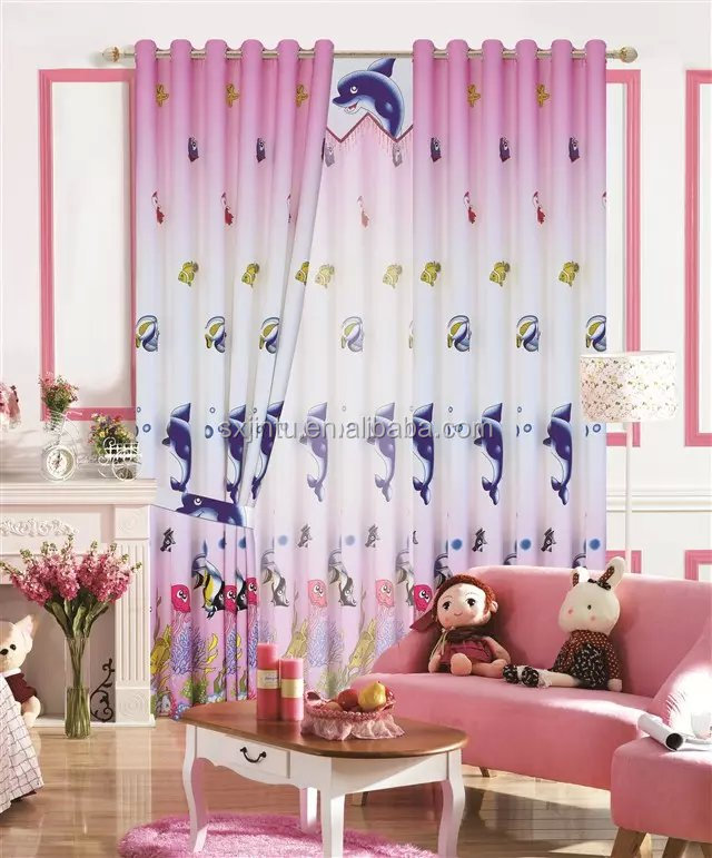 Factory supply Snow White Pink Chindren bedroom curtain