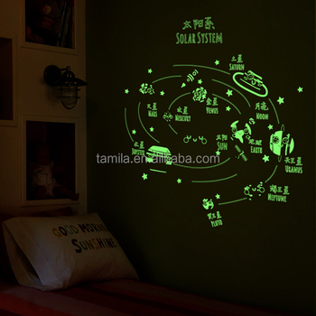 easy peel and stick solar system nursery wall stickers,luminous glow