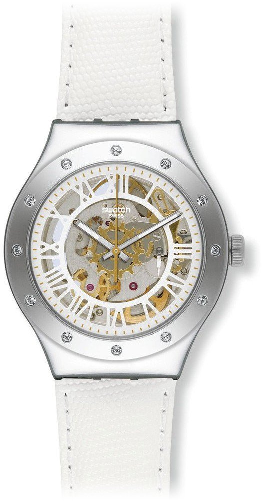 Swatch YAS109 37mm Stainless Steel Case White Leather Women's Watch