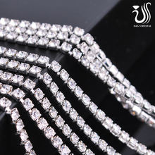 Wholesale Diamante 888 ss14 Crystal Rhinestone Silver Plating CUP Chain 10 yard Wedding Decorations