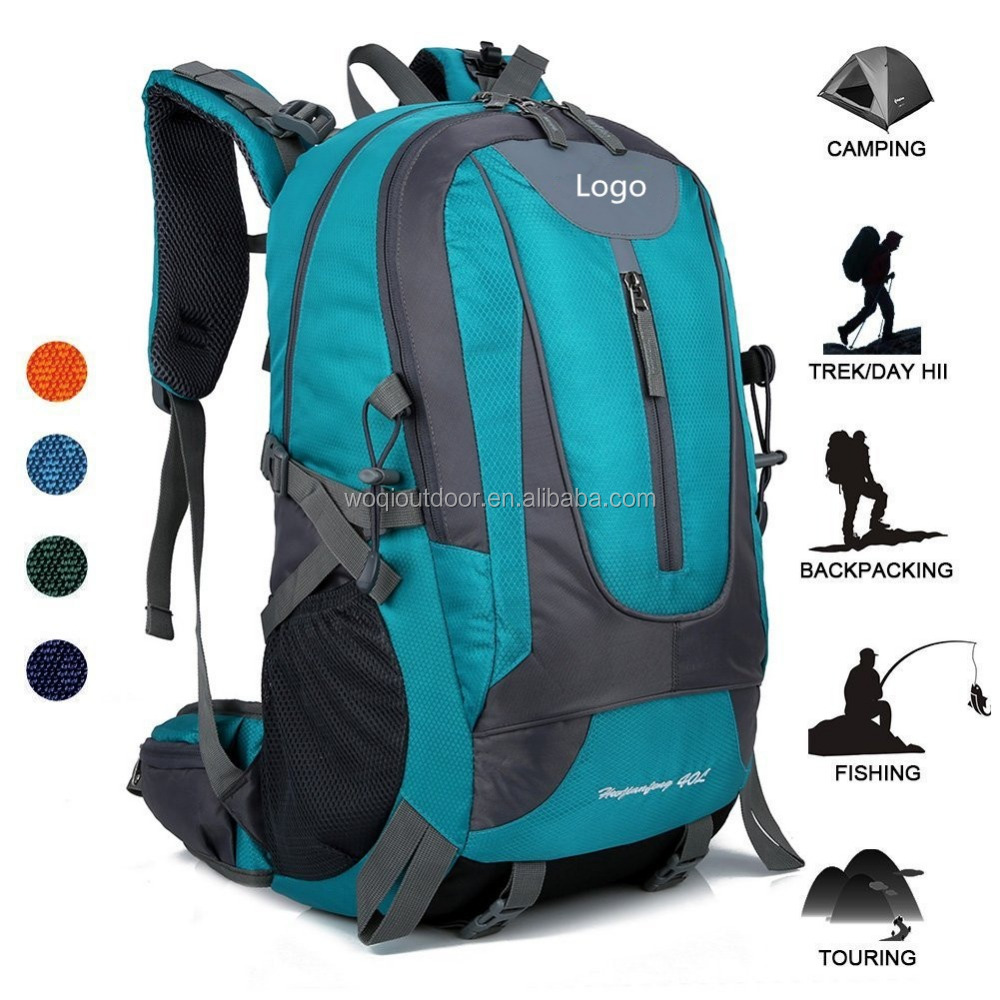 Woqi waterproof sport daypack shoulder bag S style strap nylon 40L computer hiking backpack with rain cover