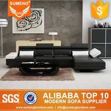 african living room furniture black leather l-shape sofa bed set