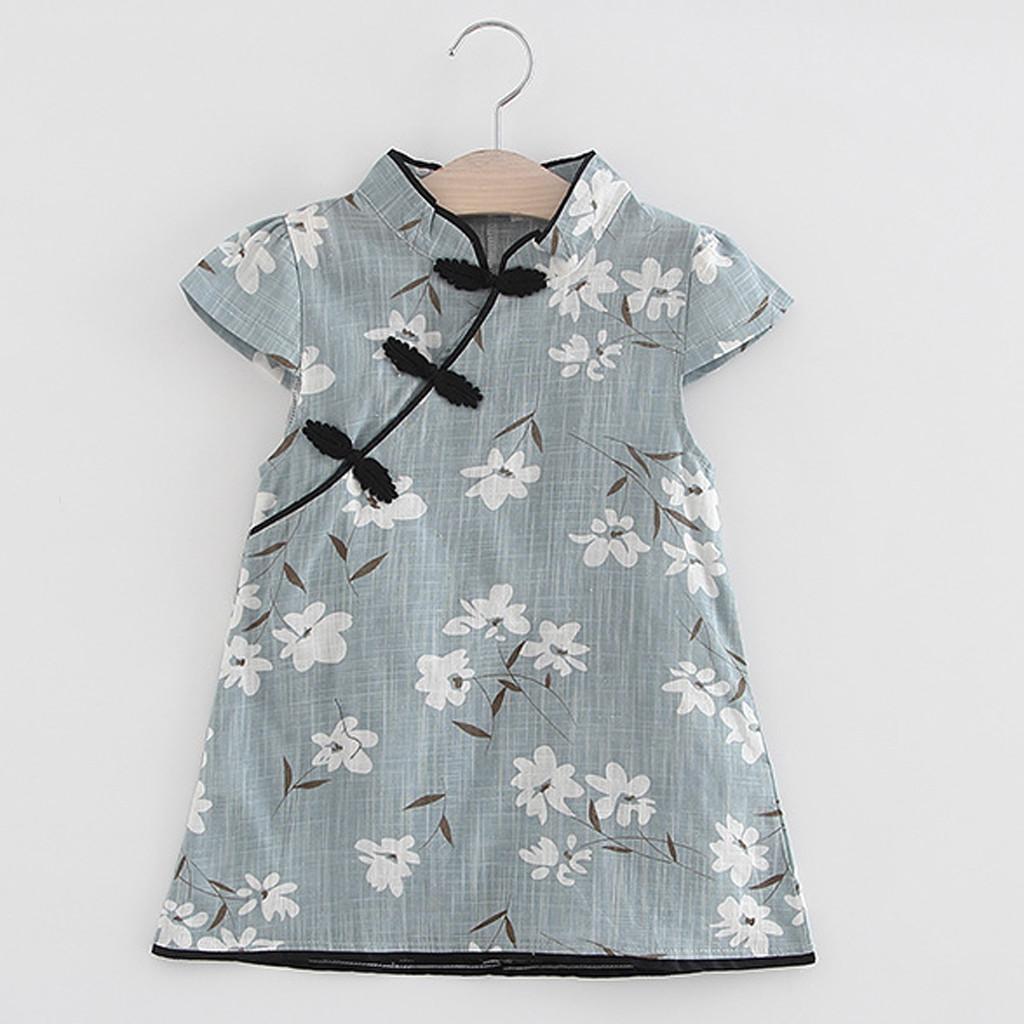 0e9fb0e1b9630 ISHOWTIENDA Toddler Kids Baby Girl Floral Midi Dress Casual Princess Party  Dress Clothes Casual Comfortable roupa menina @2