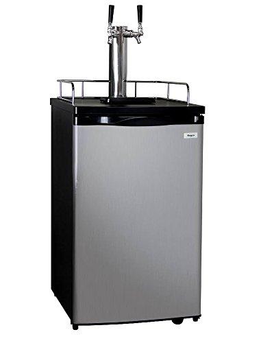 Kegco K199SS-2P Kegerator Two Keg Beer Cooler - Premium Double Faucet D System Kit - Stainless Door