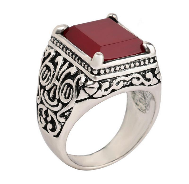 Fashion 2016 New Ruby Jewelry Islam Ring For Men Silver Plated Jewelry Mens Rings Size 11