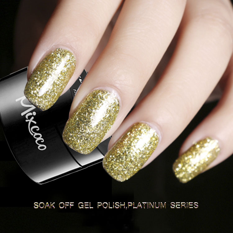 Mixcoco colors art for gel nail polish platinum gel nail glitter