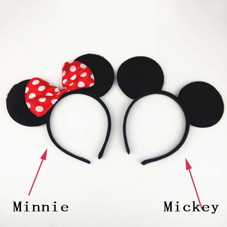 Free shipping Perfect Mouse Mickey Ears Solid Black and Bow Minnie <strong>Headband</strong> for Boys and Girls Birthday Party or Celebrations