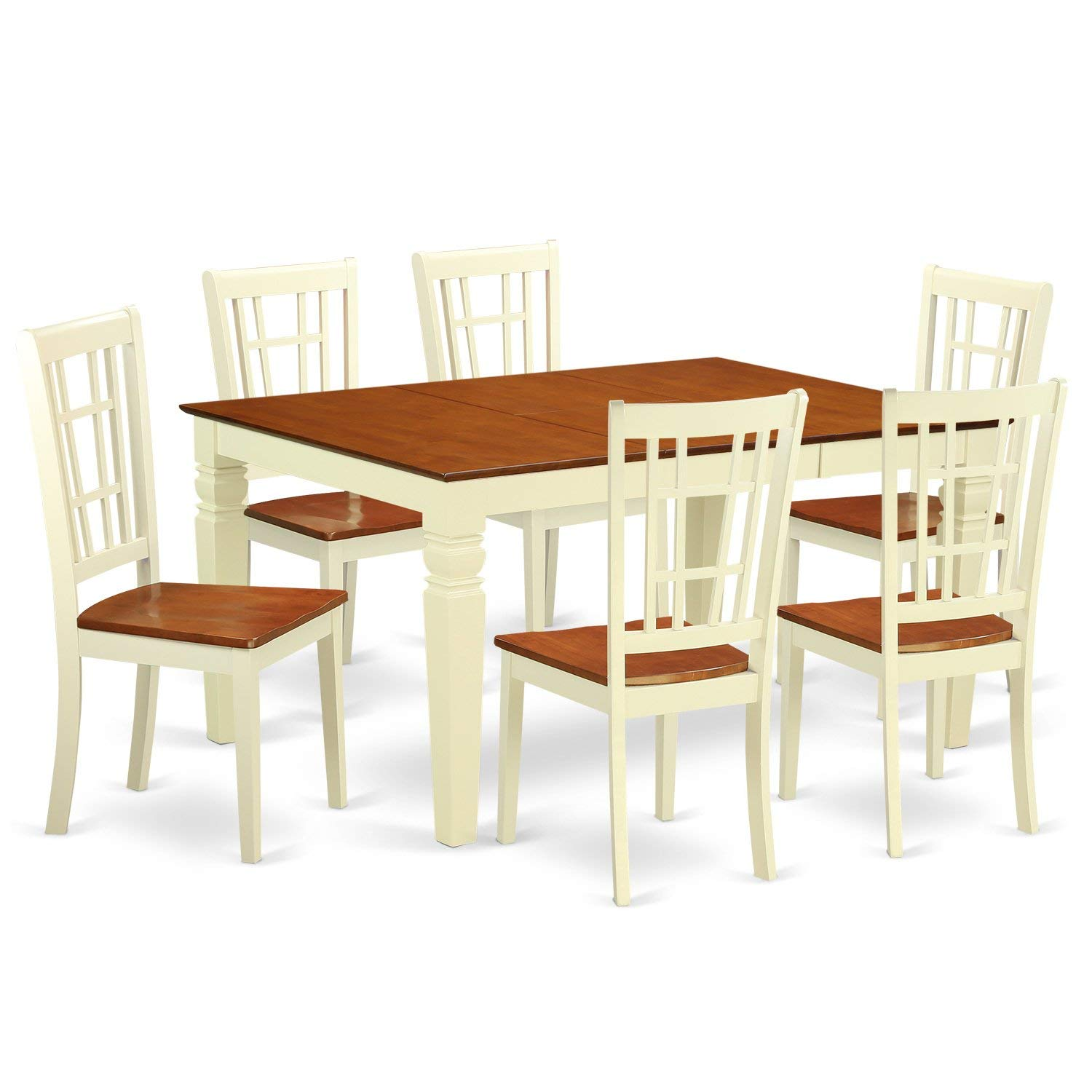 East West Furniture Weston WENI7-BMK-W 7 Pc Set with a Dining Table and 6 Wood Kitchen Chairs, Buttermilk and Cherry