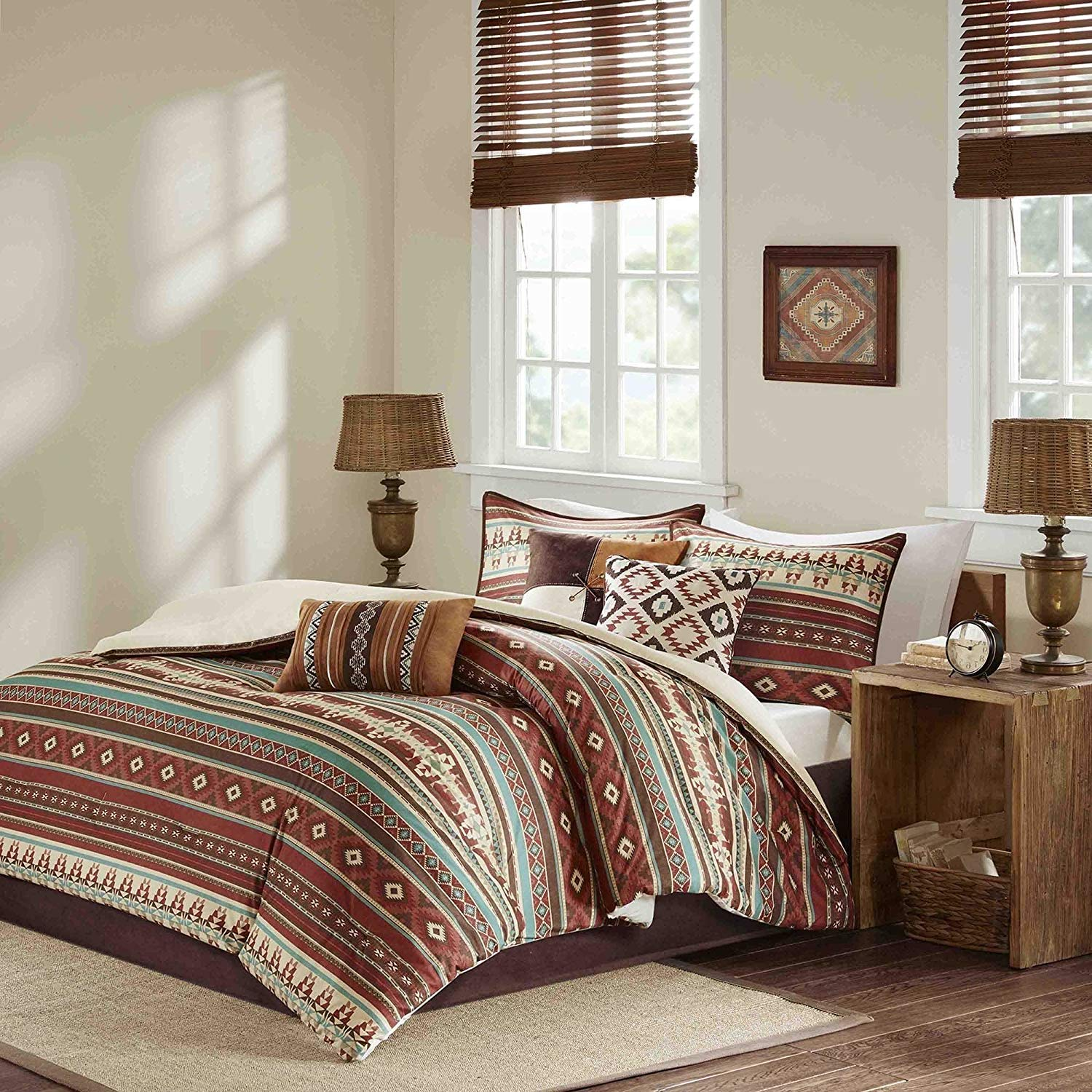 7 Piece Blue Brown Red Striped Comforter Queen Set, Spice White Cabin Bedding Lodge Diamond Print Bed in A Bag for Master Bedroom Cottage Southwestern Colorful Modern, Polyester
