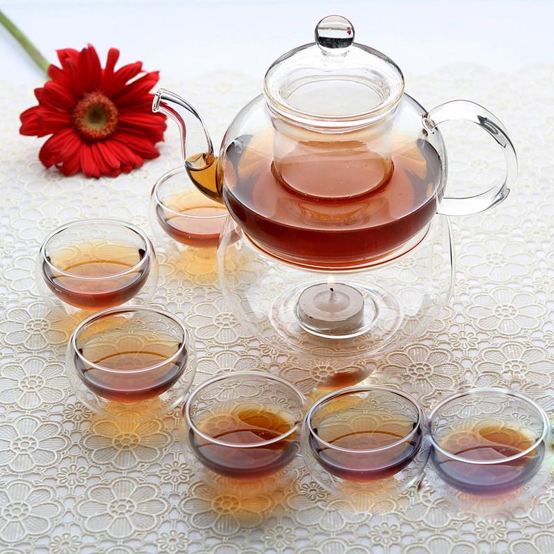 Factory sale ! Glass Tea Set teapot 600ml + 6 x double