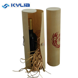Cheap Wooden Round Tube Wine Gift Box Single Bottle Cylinder Birch Bark Wooden Wine Box