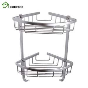 2019 High quality Bathroom shower Shelves high Grade Space Aluminum Stacking faucet Baskets Collapsible laundry corner holder