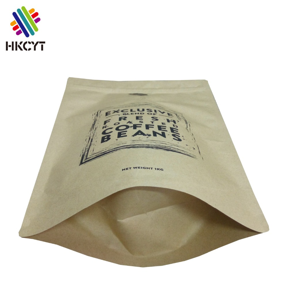 Free Sample 500g 1000g Kraft Paper Coffee Bags Coffee Bean Packaging Bags Small Kraft Paper Bag With Valve