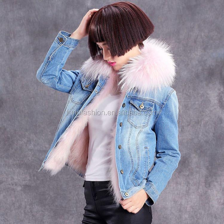 Veste en jean doublee fourrure femme