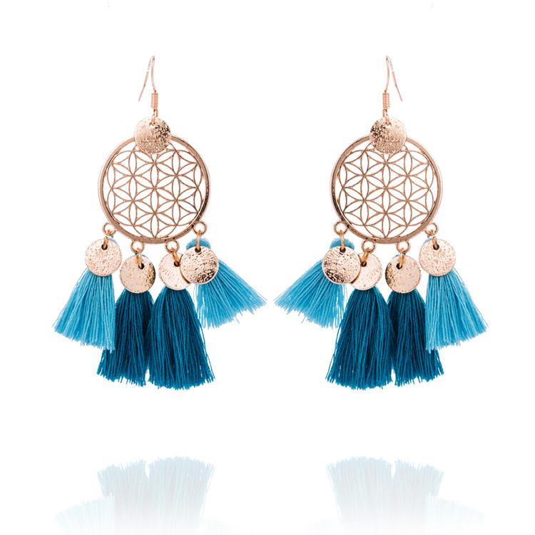 New 2018 Latest Gold Earring Designs Womens Alloy Hooks Acid Blue Colorful Gypsy Tel Earrings