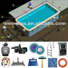 Full set swimming pool accessories circulation, filter, light, disinfect swimming pool equipment