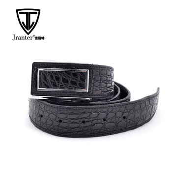 Famous Brand Custom Logo With Stainless Steel Buckle Genuine Crocodile Leather Belt For Men