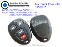 Remote control key fob for Buick Chevrolet OUC60270 or OUC60221 4 button 315Mhz