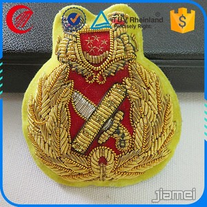 OEM design military officers india bullion embroidered cap badge