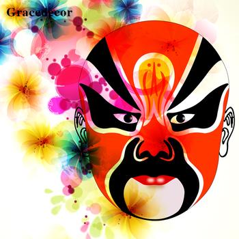 Traditional Peking Opera Facial Makeup Modern Chinese Wall Art Oil Painting
