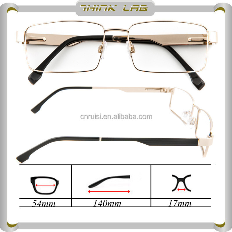 Fashion men optical glasses in gold metal optical frames with full rim wholesale