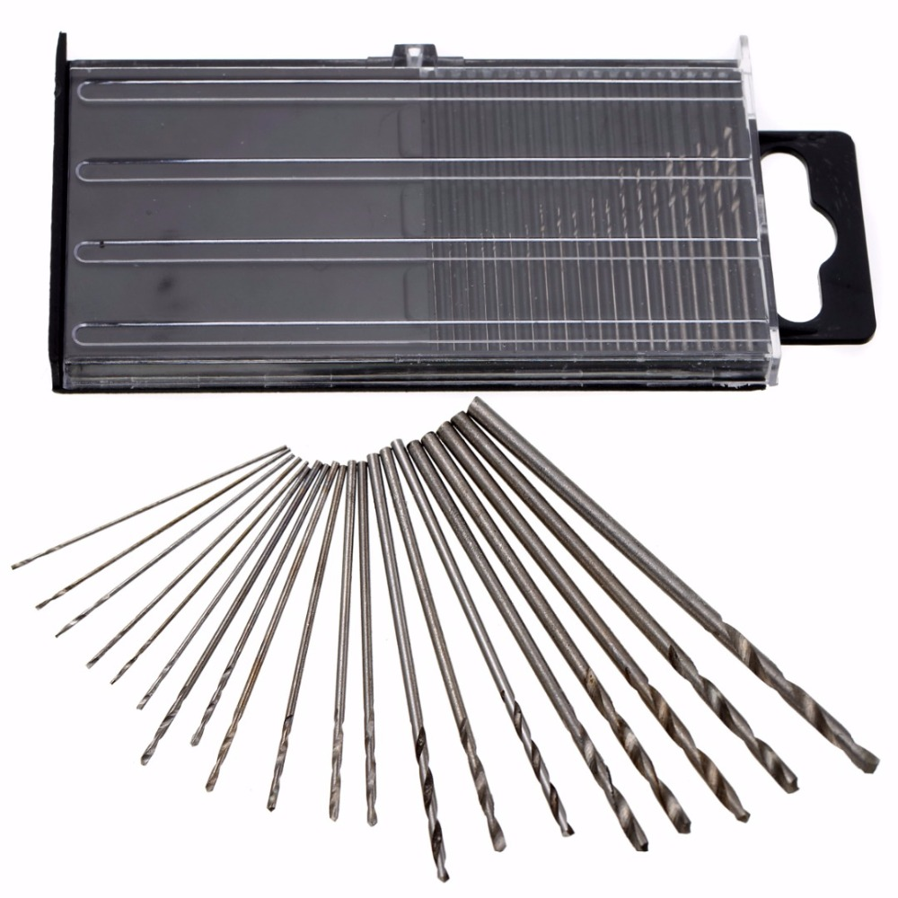 20Pcs HSS Mini Micro Twist Precision Drill Bit Set 0.3mm-1.6mm Craft Outil Étui