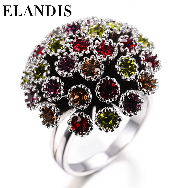 E-ELANDIS New Arrival Multicolor Fashionable Ring for Women Silver Plated with Zircon Rings Anillos BR00041