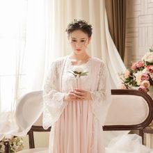 Мягкая белая кружевная винтажная женская ночная рубашка, 2 шт., длинная ночная рубашка для женщин, платье для сна, 4 вида цветов, сексуальное н...(Китай)