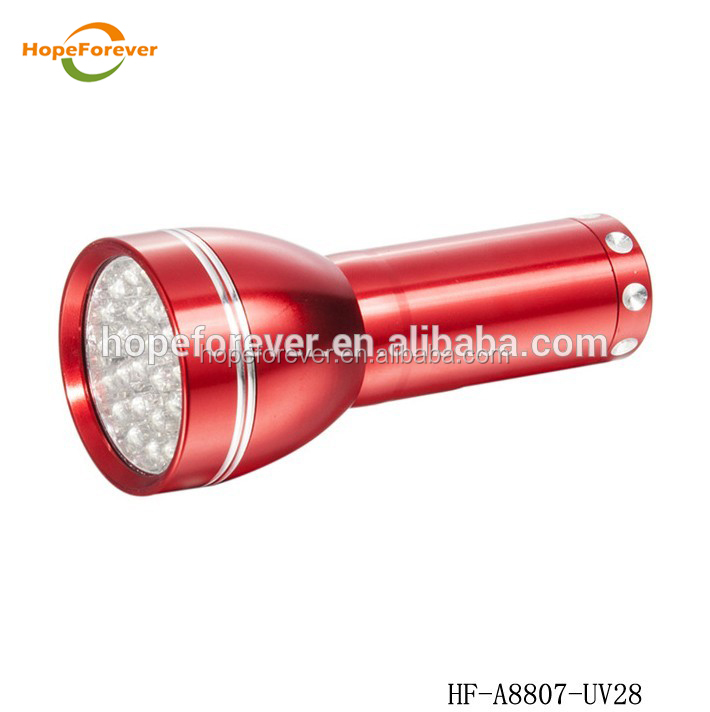 LED waterproof Aluminum alloy 28led UV 395nm torch flashlight