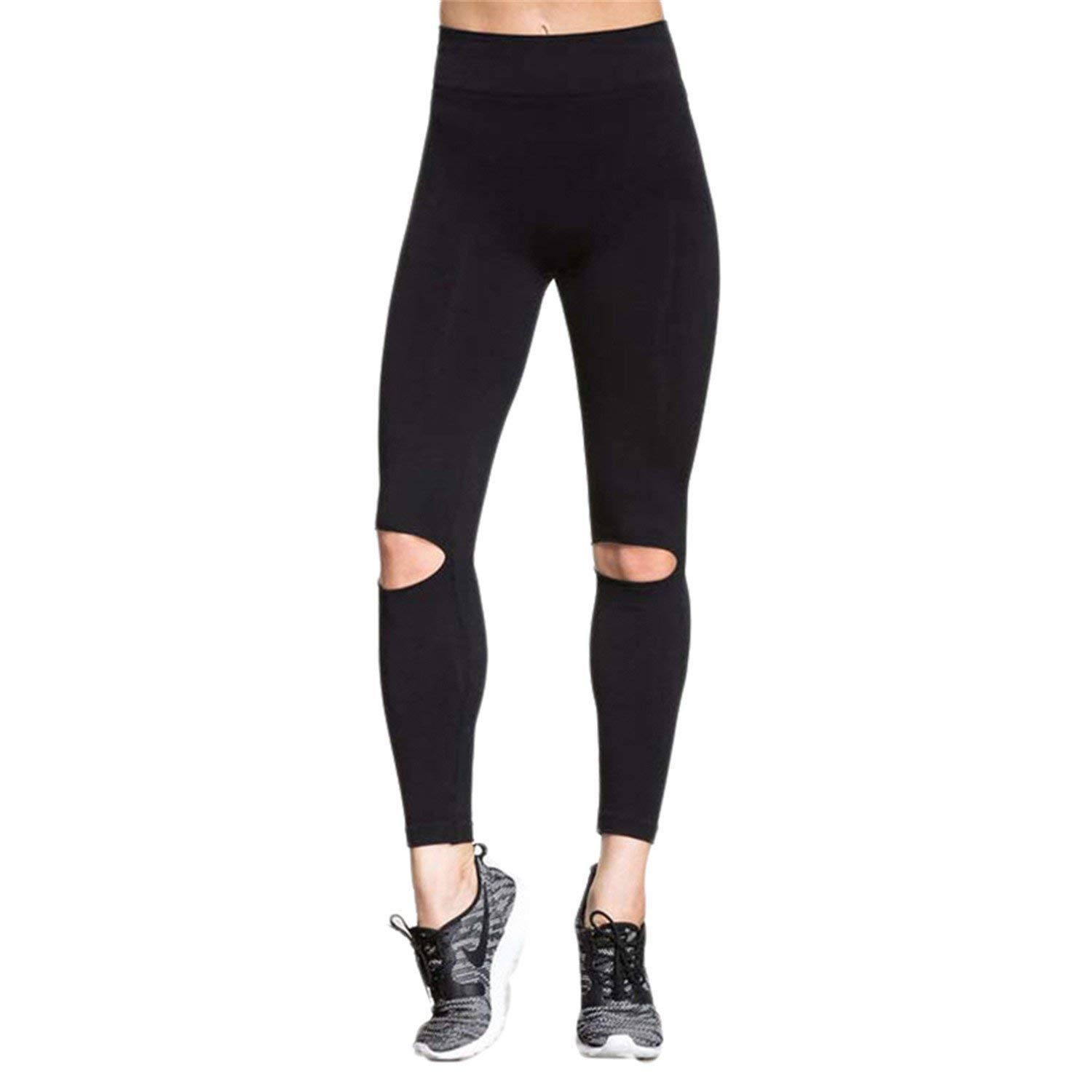 e35157bba11 Get Quotations · Kebinai Black Leggings Women Fashion Knee Hole Leggings  Pants Trousers Elasticity Fitness Leggings