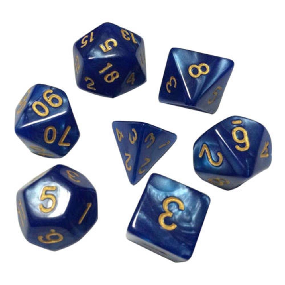 MAXGOODS TRPG Game Dungeons & Dragons Glitter D4-D20 Multi Sides Dice ,7PCS