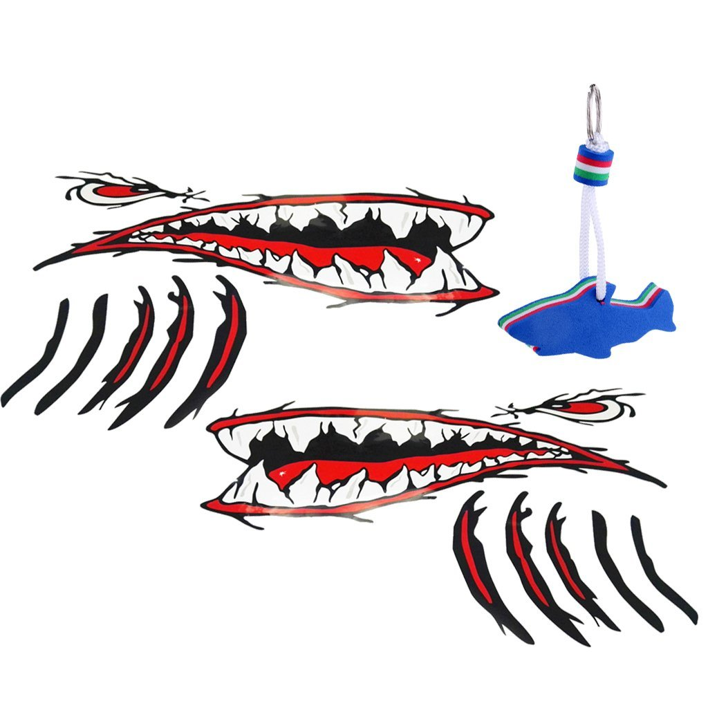 Get quotations · sunnimix 2 pieces large shark teeth mouth stickers boat ocean kayak decals blue eva foam