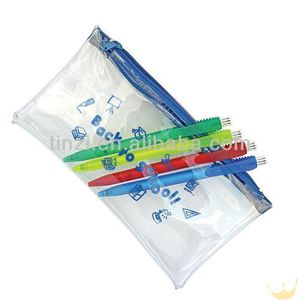 Plastic pencil zip bag blue zipper plastic pencil case bag