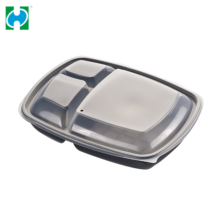 Black Transparent Disposable Plastic Ps Food Packaging Bowl With Lid Oem Service