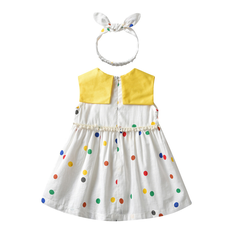 2019 oem new products baby clothes yellow neck round point baby girls dress pattern in hot-selling