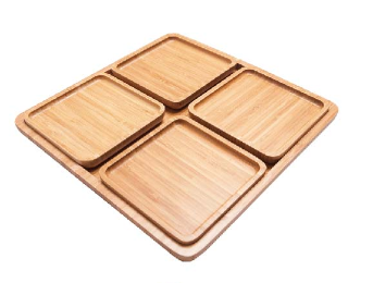 100%  Natural bamboo morden snack serving tray